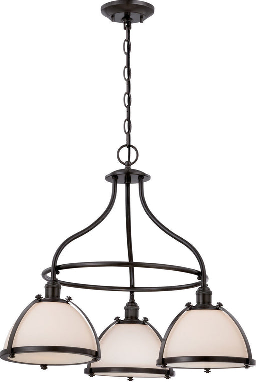Nuvo Lighting 60-5533 Sagamore Collection Three Light Hanging Pendant Chandelier in Aged Bronze Finish