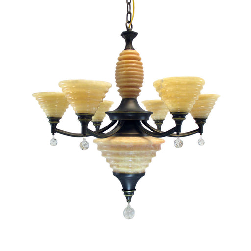 Kalco Lighting 5631 SZ Barringer Collection Six Light Chandelier in Satin Bronze Finish - Discount Lighting Fixtures