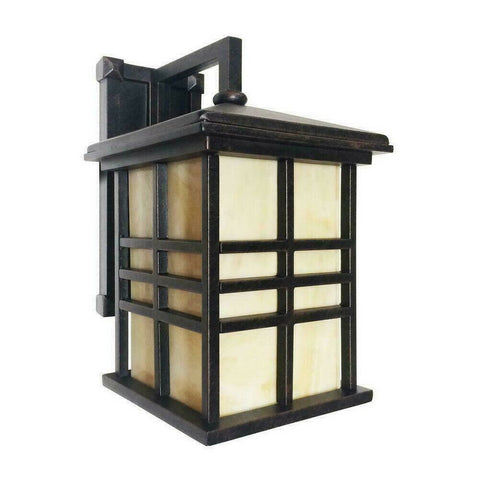 Trans Globe Lighting PL44635RT-H-LED Huntington Collection One Light Misson Style Outdoor Wall Lantern in Bronze Rust Finish