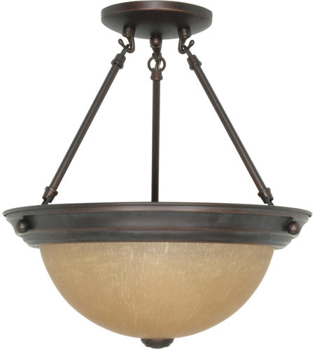 Nuvo Lighting 60-3109 Signature Collection Two Light Energy Star Efficient GU24 Semi Flush Ceiling Fixture in Mahogany Bronze Finish