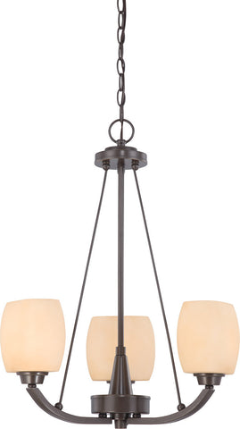 Nuvo Lighting 60-4205 Helium Collection Three Light Hanging Chandelier in Vintage Bronze Finish - Quality Discount Lighting
