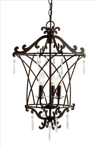 Trans Globe Lighting 70313 Three Light Basket Weaved Hanging Pendant Chandelier in Rubbed Oil Bronze Finish