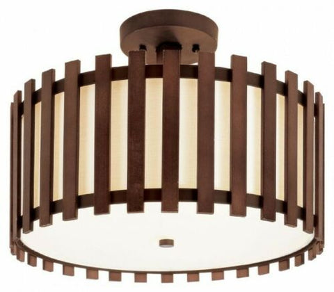 Trans Globe Lighting 70550 Three Light Semi Flush Ceiling Fixture in Walnut Finish