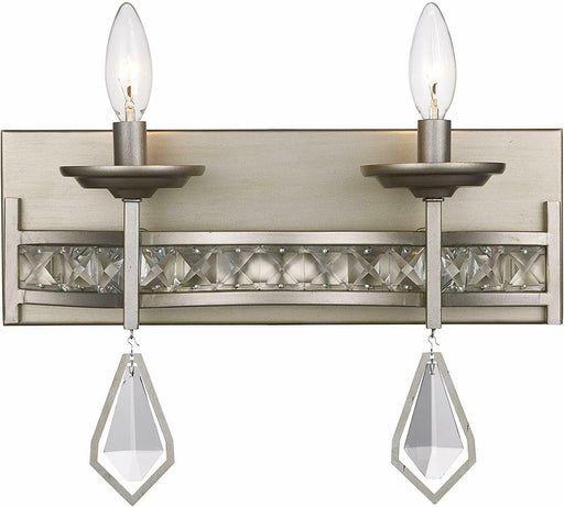 Trans Globe Lighting 70772 ASL Two Light Bath Vanity Wall Fixture in Antique Silver Finish