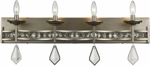 Trans Globe Lighting 70774 ASL Four Light Bath Vanity Wall Fixture in Antique Silver Finish