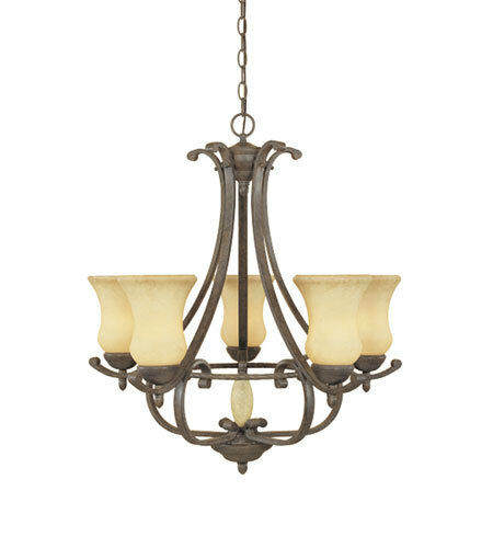 Designers Fountain Lighting 81085 AO Salerno Collection Five Light Hanging Chandelier in Ancient Oak Finish