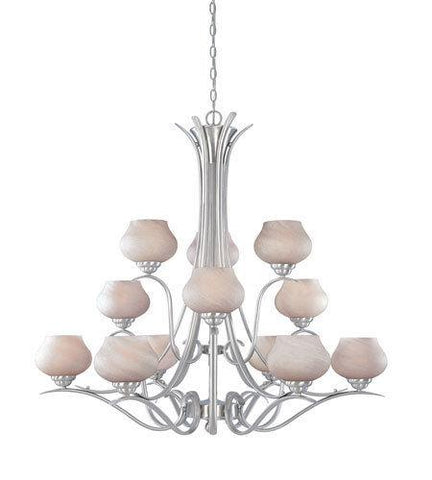 Designers Fountain Lighting 820812 SP Moon Shadow Collection Twelve Light Hanging Chandelier in Satin Platinum Finish