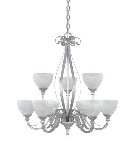 Designers Fountain Lighting 82889 MTP Del Amo Collection Nine Light Hanging Chandelier in Matte Pewter Finish