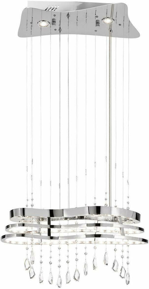 Elan by Kichler Lighting 83120 Kascade Collection Integrated LED Hanging Pendant Chandelier in Polished Chrome Finish