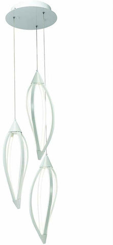 Elan by Kichler Lighting 83361 Meridian Collection LED Hanging Three Light Pendant Chandelier in White Finish