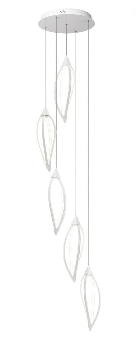 Elan by Kichler Lighting 83362 Meridian Collection LED Hanging Five Light Pendant Chandelier in White Finish