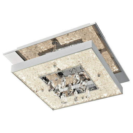 Elan by Kichler Lighting 83411 Crushed Ice Square Collection LED Flush Mount Ceiling Light in Polished Chrome Finish