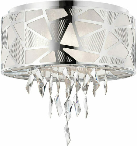 Elan by Kichler Lighting 83585 Angelique Collection Five Light Flush Mount Drum Ceiling Light in Polished Chrome Finish