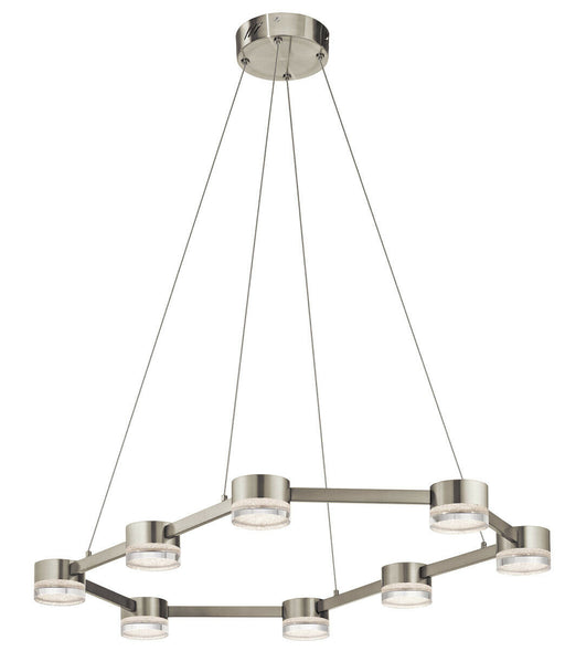 Elan by Kichler Lighting 83705 Avenza Collection LED Eight Light Hanging Pendant Linear Island Chandelier in Brushed Nickel Finish