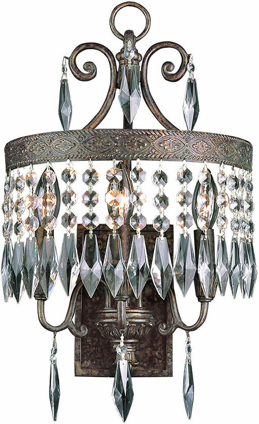 Trans Globe Lighting 8391 DBG Three Light Wall Sconce with Crystal in Dark Bronze Gold Finish