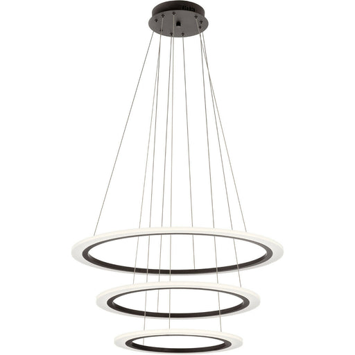 Kichler Lighting 83987 Hyvo Collection Three Ring LED Pendant Chandelier in Bronze Finish