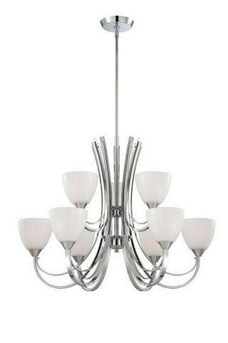 Designers Fountain Lighting 84689 CH Cortona Collection Nine Light Hanging Chandelier in Polished Chrome Finish