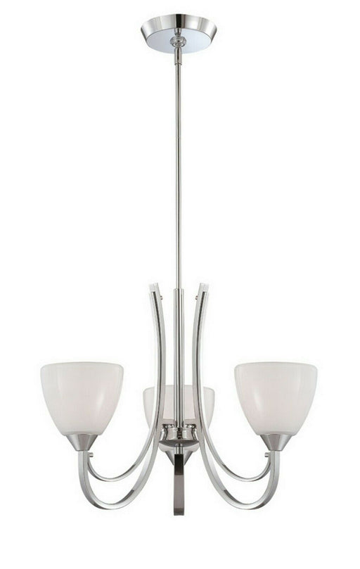 Designers Fountain Lighting 84683 CH Cortona Collection Three Light Hanging Chandelier in Polished Chrome Finish