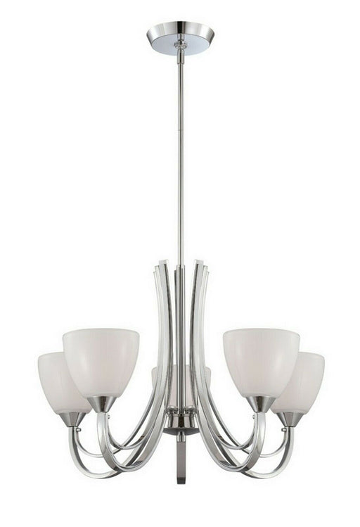Designers Fountain Lighting 84685 CH Cortona Collection Five Light Hanging Chandelier in Polished Chrome Finish