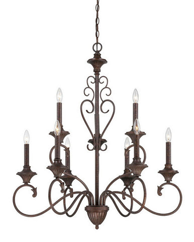 Designers Fountain Lighting 84889 BU Helena Collection Nine Light Hanging Chandelier in Burnt Umber Finish
