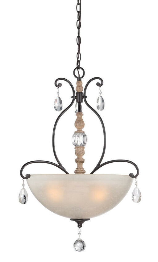 Designers Fountain Lighting 853331 DA Bella Maison Collection Three Light Pendant Chandelier in Distressed Ash Finish