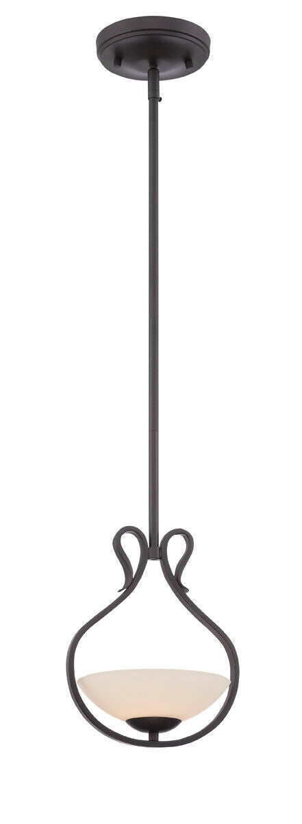 Designers Fountain Lighting 86730 ORB Galena Collection One Light Hanging Mini Pendant in Oil Rubbed Bronze Finish