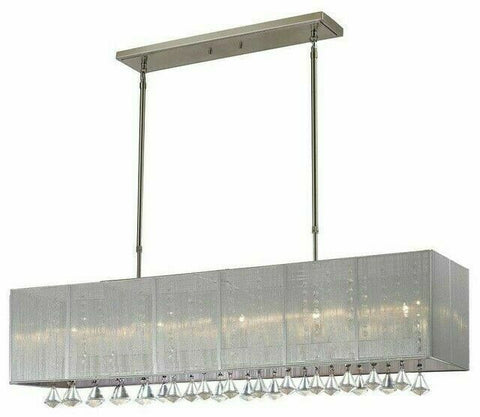 Z-Lite Lighting 892-45S Aura Collection Five Light with Crystals Hanging Island Chandelier in Brushed Nickel Finish