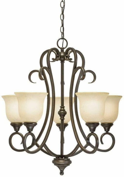 Kichler Lighting 89579 Five Light Hanging Chandelier in Scavo Natural Bronze Finish