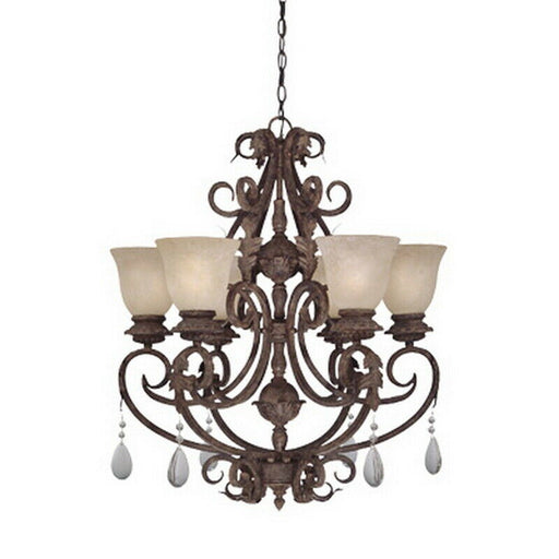 Designers Fountain Lighting 91406 AO San Mateo Collection Six Light Hanging Chandelier in Ancient Oak Finish