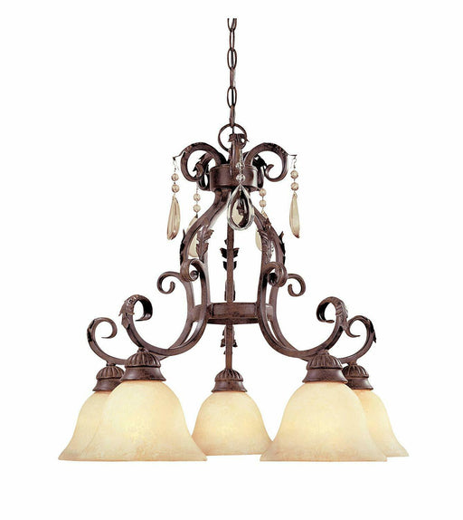 Designers Fountain Lighting 91409 AO Five Light Hanging Chandelier in Ancient Oak Finish