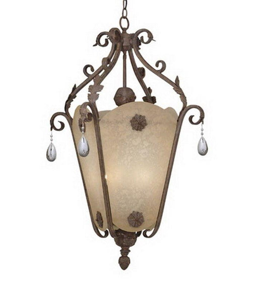 Designers Fountain Lighting 9148 AO San Mateo Collection Six Light Hanging Pendant Chandelier in Ancient Oak Finish