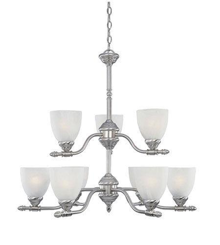 Designers Fountain Lighting 94089 SP Nine Light Chandelier in Satin Platinum Finish