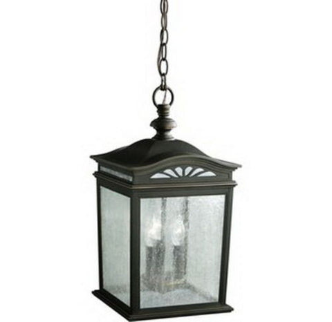 Kichler Lighting 9521 RZ Three Light Exterior Outdoor Hanging Lantern in Rubbed Bronze Finish - Quality Discount Lighting