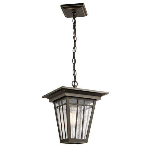 Kichler Lighting 49678OZ Woodhollow Lane Collection One Light Outdoor Exterior Hanging Lantern in Olde Bronze Finish