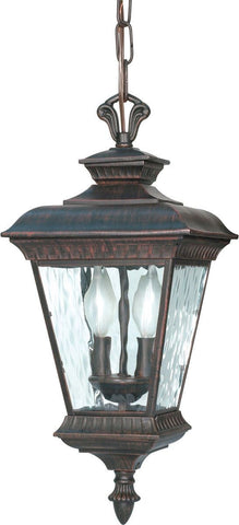 Nuvo Lighting 60-973 Charter Collection Two Light Exterior Outdoor Hanging Lantern in Old Penny Bronze Finish
