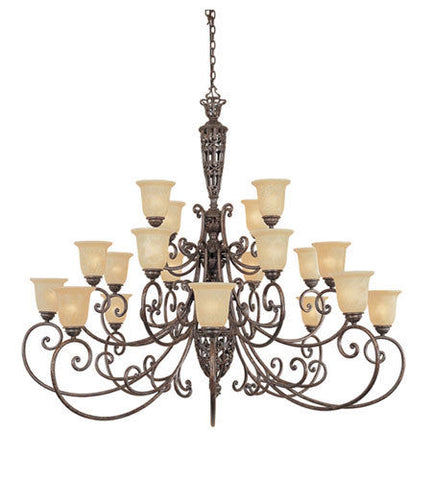 Designers Fountain Lighting 975820 BU Amherst Collection Twenty Light Hanging Chandelier in Burnt Umber Finish
