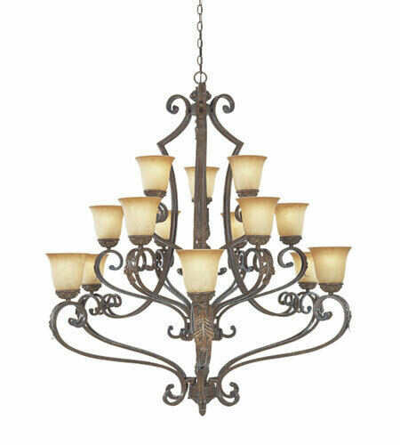 Designers Fountain Lighting 976815 VBG Grand Palais Collection Fifteen Light Hanging Chandelier in Venetian Bronze and Gold Finish