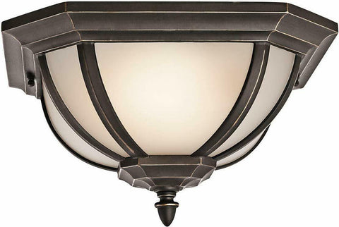 Kichler Lighting 49848RZFL-LED Salisbury Collection Two Light LED Exterior Outdoor Ceiling Mount in Rubbed Bronze Finish