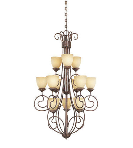 Designers Fountain Lighting 993812 AUB Belaire Collection Twelve Light Hanging Chandelier in Aged Umber Bronze Finish