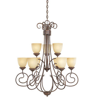 Designers Fountain Lighting 99389 AUB Belaire Collection Nine Light Hanging Chandelier in Aged Umber Bronze Finish