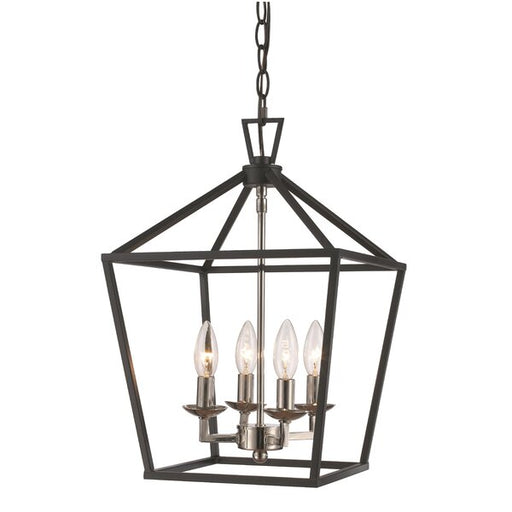 Laurel Foundry Modern Farmhouse Carmen 4 Light Geometric Pendant in Polished Chrome and Black Finish