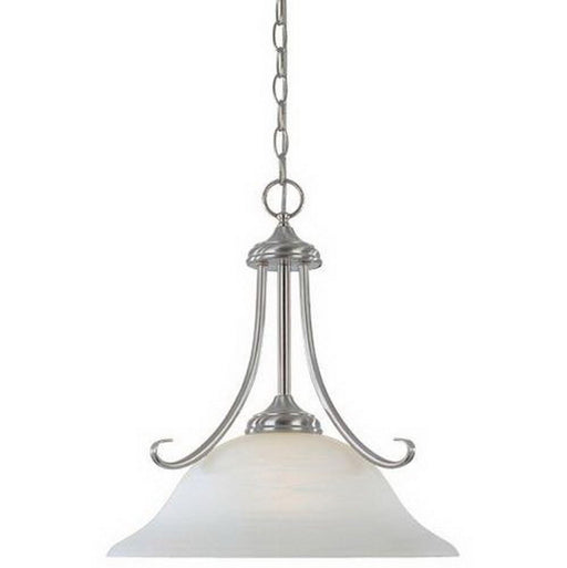 Designers Fountain Lighting ES98032 SP Stratton Collection GU24 Energy Efficient Fluorescent One Light Pendant Chandelier in Satin Platinum Finish - Quality Discount Lighting