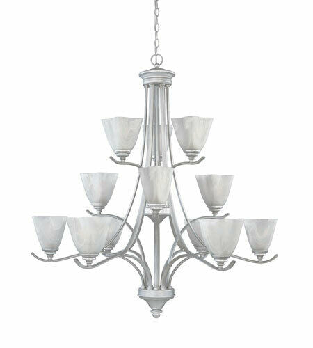Designers Fountain Lighting 819812 MTP Bella Vista Collection Twelve Light Hanging Chandelier in Matte Pewter Finish