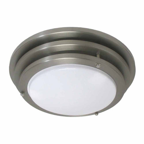 Epiphany Lighting 104798 BN One Light Round Energy Saving Fluorescent Flush Ceiling Mount in Brushed Nickel Finish - Discount Lighting Fixtures