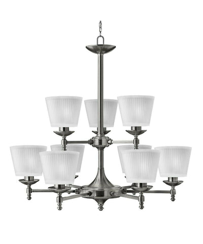 Hinkley Lighting 4198PL Up-Town Collection Nine Light Hanging Chandelier in Polished Antique Nickel Finish