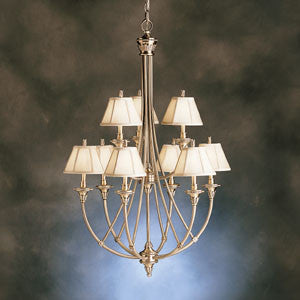 Kichler Lighting 1889 BAB Alexandria Collection Nine Light Hanging Chandelier in Burnished Antique Brass - Quality Discount Lighting