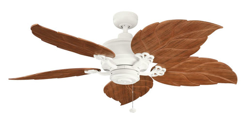 Kichler Lighting 320102SNW-370022 Crystal Bay Collection Patio Ceiling Fan in Satin Natural White Finish with Dark Oak Blades - Quality Discount Lighting