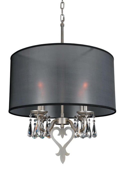 Kalco Lighting Allegri 023050-002-FR001 Georgetta Four Light Drum Pendant Chandelier in Aged Silver Finish