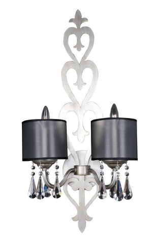 Kalco Lighting Allegri 023020-002-FR001 Georgetta Two Light Wall Sconce in Aged Silver Finish