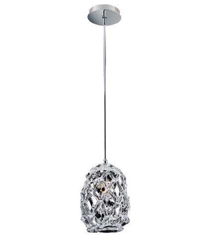 Kalco Lighting Allegri 11102-010-FR000 Veronese One Light Hanging Mini Pendant in Polished Chrome Finish